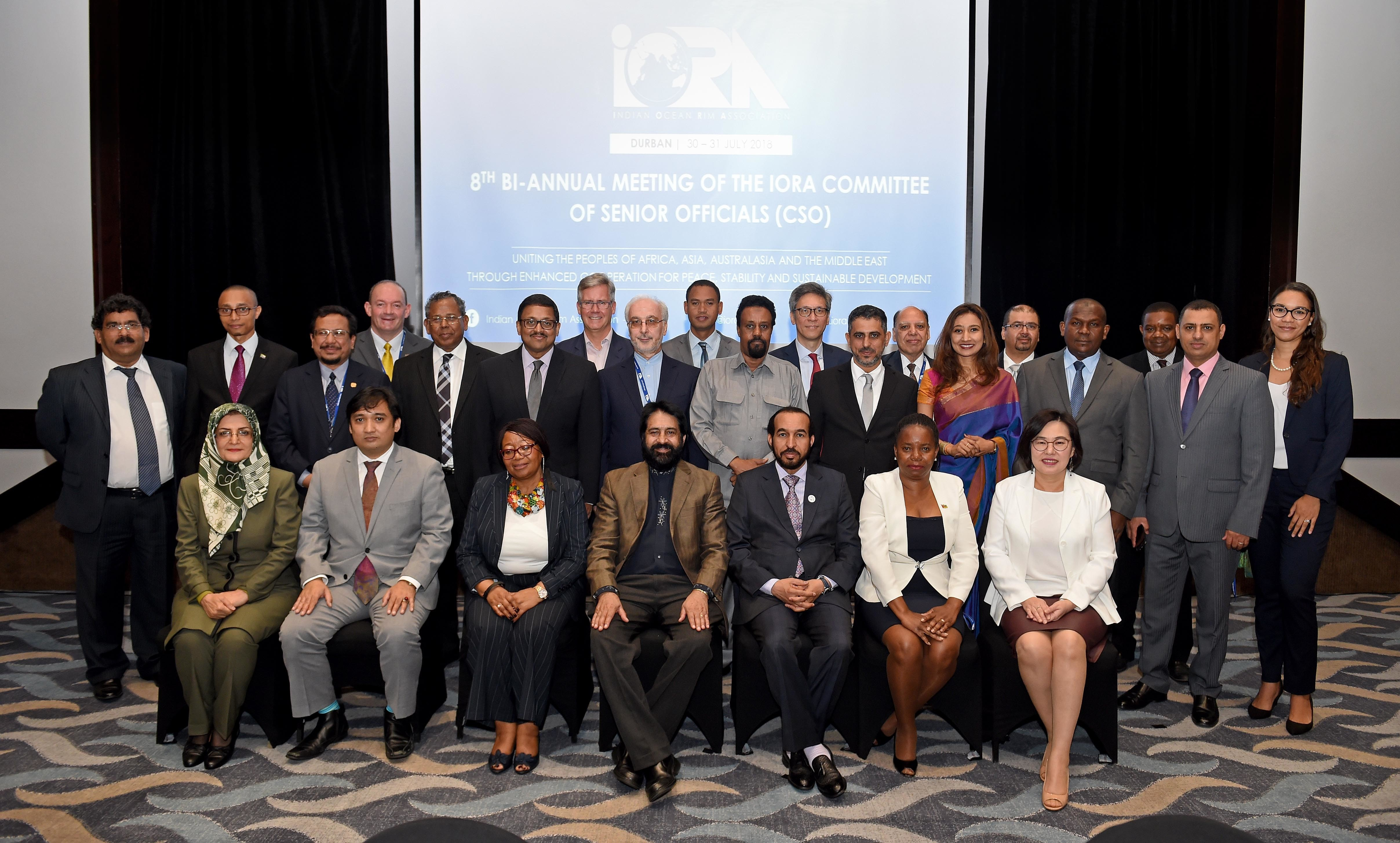 Official Group Photograph of the 8th Bi-Annual Meeting of the IORA Committee of Senior Officials (CSO) 2018 in Durban, South Africa.