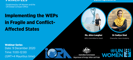 UN Women Webinar on Implementing the Women's Empowerment Principles (WEPs) in Conflict-Affected States