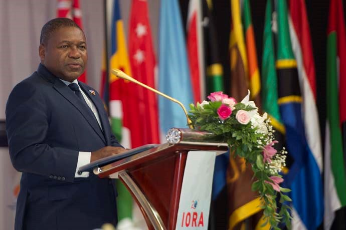 The President of Mozambique, H.E Mr Filipe Nyusi, delivering a keynote address at the IORA Business Summit for participants.