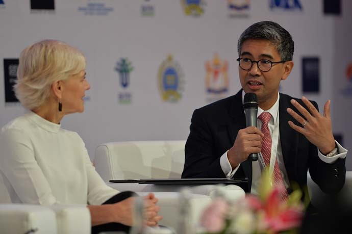 CEO of CIMB Group Malaysia Tengku Dato Sri Zafrul Abdul Aziz (right), and CEO of Austrade Australia Stephanie Fahey (left) the second session speakers at the IORA Business Summit.