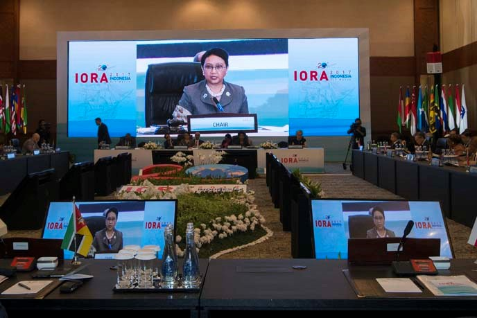 Indonesian Foreign Minister Retno Marsudi leads the Council of Ministers Meeting which was held in a series of events at the IORA Leaders' Summit, at the Jakarta Convention Center, Jakarta, Indonesia.