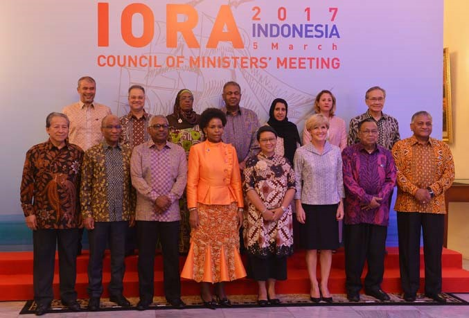 A number of Ministers of States participating in the IORA Leaders' Summit 2017 pose for a group photo in the State Banquet at the Pancasila Building of the Ministry of Foreign Affairs, Jakarta, Indonesia.